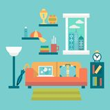 Flat design vector illustration of modern home office interior with sofa and laptop Royalty Free Stock Photos