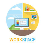 Flat design vector illustration of modern office interior. Creative cartoon workspace with computer, window, notes Royalty Free Stock Images