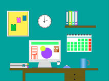 Flat design vector illustration of modern office. Interior with designer desktop showing design application with interface icons and elements in minimalistic royalty free illustration