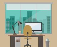 Flat design vector illustration of an office work space brown shades overlooking the city Royalty Free Stock Photos