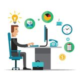 Flat  design vector illustration of office Stock Images