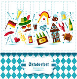 Flat design vector illustration with oktoberfest celebration. Symbols. Oktoberfest celebration design with Bavarian hat and autumn leaves and germany icons on Royalty Free Stock Photography