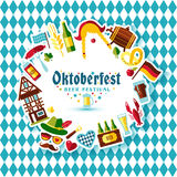 Flat design vector illustration with oktoberfest celebration. Symbols. Oktoberfest celebration design with Bavarian hat and autumn leaves and germany icons on Royalty Free Stock Images