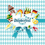 Flat design vector illustration with oktoberfest celebration. Symbols. Oktoberfest celebration design with Bavarian hat and autumn leaves and germany icons on Stock Photo
