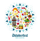 Flat design vector illustration with oktoberfest celebration. Symbols. Oktoberfest celebration design with Bavarian hat and autumn leaves and germany icons on Royalty Free Stock Photo