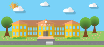 Flat design vector illustration of school building in flat design style, vector illustration Stock Images