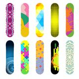 Set of isolated snowboard. Flat design vector illustration set of bright snowboard icon. Winter sports. Outfit, clothing, accessories for skiing, snowboarding Stock Image