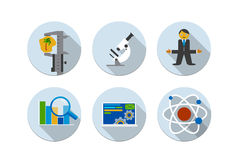 Flat design vector illustration six icons set Royalty Free Stock Photos