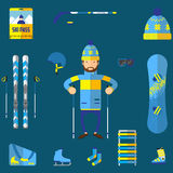 Flat design vector illustration of skiing equipment. Smiling happy skier with ski Stock Photo