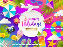 Flat design illustration. Summer holidays and beach vacation things and items on a bright gradient background. Stock Image