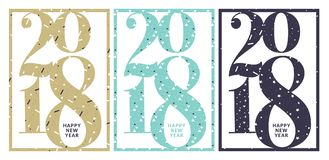 Vector illustration of New Year 2018 greeting card. Flat design vector illustration template for greeting cards, website and mobile banners, marketing material stock illustration