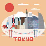 Flat design vector illustration of Tokyo Royalty Free Stock Images