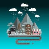 Flat design, vector illustration, winter landscape in night. stock photo