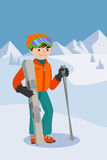 Flat design vector illustration of young man from the mountain by ski equipped. Smiling happy skier. Flat design vector illustration of young man from the Royalty Free Stock Image