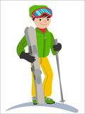 Flat design vector illustration of young man from the mountain by ski equipped. Smiling happy skier. Flat design vector illustration of young man from the Stock Image