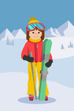 Flat design vector illustration of young woman from the mountain by ski equipped. Smiling happy skier girl. Including. Flat design vector illustration of young Stock Images