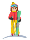 Flat design vector illustration of young woman from the mountain by ski equipped. Smiling happy skier girl. Including. Flat design vector illustration of young Stock Photo