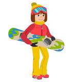 Flat design vector illustration of young woman from the mountain by snowboarding equipped. Smiling happy skier girl. Flat design vector illustration of young Royalty Free Stock Images