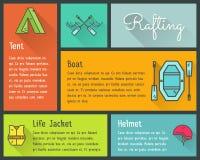 Flat design vector infographics of kayaking, canoe Royalty Free Stock Photography