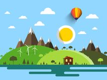 Flat Design Vector Landscape with House. Hills, Mountains and Sun on Blue Sky Stock Illustration