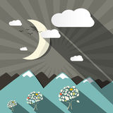 Flat Design Vector Mountains and Moon Stock Image