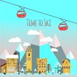 Flat design vector nature winter landscape illustration royalty free stock images