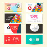 Flat Design Vector Paper Business Cards. Flat Design Vector Paper Business Card Template - Layout Set Isolated on Retro Background Royalty Free Stock Images