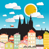 Flat Design Vector Prague Castle Illustration Stock Photos