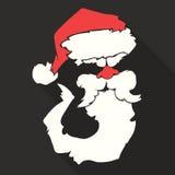 Flat Design Vector Santa Claus Face with beard and Royalty Free Stock Photos