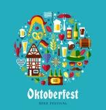 Flat design vector set icons with oktoberfest celebration symbol. Flat design vector illustration with oktoberfest celebration symbols. Oktoberfest celebration Royalty Free Stock Image