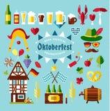 Flat design vector set icons with oktoberfest celebration symbol. Flat design vector illustration with oktoberfest celebration symbols. Oktoberfest celebration Stock Images