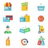 Flat design vector shopping icons. With a store front  wallet  credit cards  bags  sale  open and closed signs  salesperson or customer  delivery  basket  24 Royalty Free Stock Photography