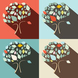 Flat Design Vector Trees Set Stock Photography