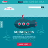 Flat design vector website template with submarine. Flat design vector website template of SEO website searching optimization with cartoon submarine Stock Images