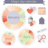 Flat design, vector woman's calendar and fertility. Icons. Vector illustration Royalty Free Stock Photos