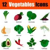Flat design vegetables icon set Stock Photos