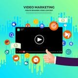 Flat design vlog concept. Create video content and make money. V. Ector illustrate stock illustration