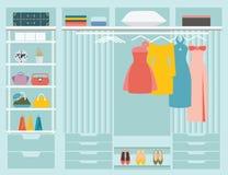 Flat Design walk in closet. Royalty Free Stock Images