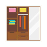 Flat design wardrobe of cupboard icon isolated vintage lifestyle retro larder with shelves and storage box interior Stock Images