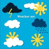 Flat design weather icons set. Royalty Free Stock Photos