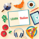 Flat design web banner for italian language school. Stock Images