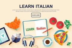 Flat design web banner for italian language school. Stock Photography