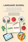 Flat design web banner for italian language school. Royalty Free Stock Image