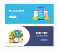 Flat design web banners for online banking, investment. Modern business concepts templates. Vector illustration.  Stock Illustration