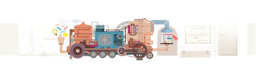 Flat design web banner for social media, internet marketing, networking and business services. Vector illustration concepts royalty free illustration