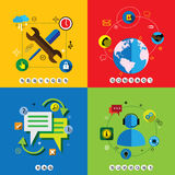 Flat design web icons vector set for contact, service, faq & sup Royalty Free Stock Image