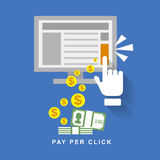 Flat design web marketing pay per click Stock Photography