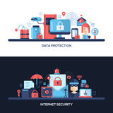 Flat design website data security headers banners set. Website data safety, security and protection header, banner, icons and other flat design web elements Stock Photo