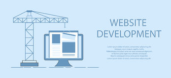 Flat design of website under construction, web page building process, site form layout of Web Development. Stock Photo