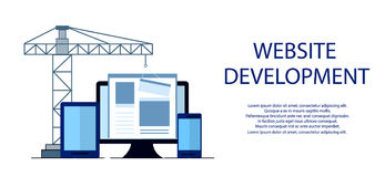Flat design of website under construction, web page building process, site form layout of Web Development. Royalty Free Stock Images